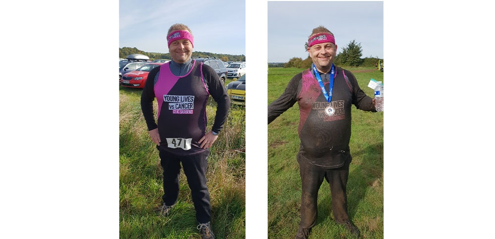 Tim Miller before and after mud Muddy Mayhem
